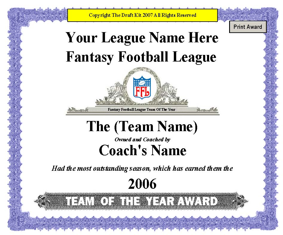 Fantasy award maker sample page for Team certificate template