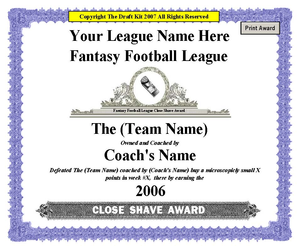 Famous football certificate templates contemporary resume ideas certificate template inspirational football award certificate fantasy award maker sample page yelopaper Images