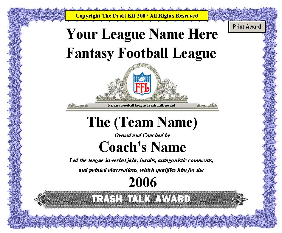 Fantasy award maker sample page trash talk 2ffl yelopaper Images
