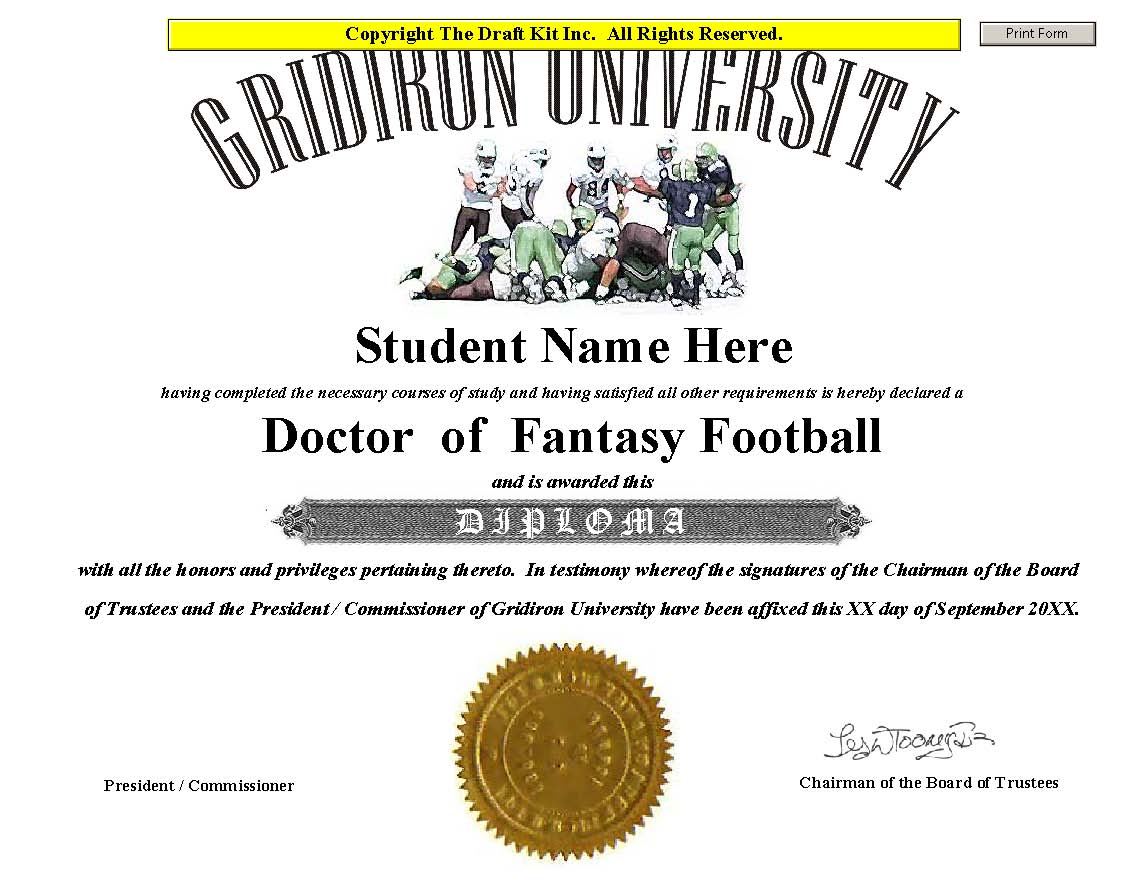 Fantasy award maker sample page doctorate of fantasy football yelopaper Images